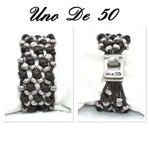 Uno De 50 Leather Knotted Silver Beads Bracelet